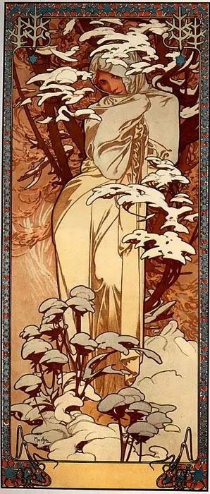 Inverno - Alphonse Mucha e suas principais pinturas ~ (Art Nouveau) Tcheco