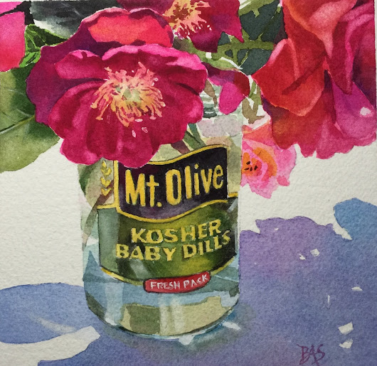Roses In A Pickle Jar