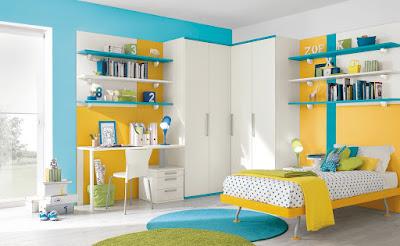 Kombinasi warna biru untuk ruang tidur
