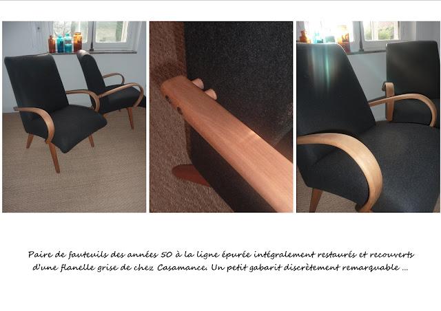 paire de fauteuils scandinaves gris