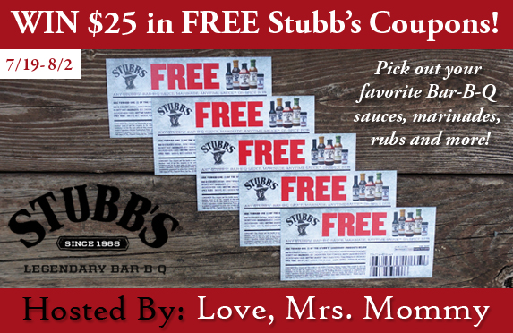 Giveaway! Win $25 in FREE Stubb's Coupons!