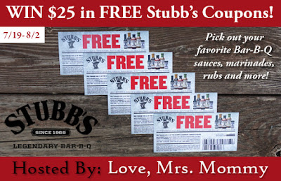 Enter the $25 in FREE Stubb's BBQ Coupons Giveaway. Ends 8/2