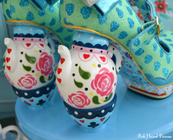 back view of teapot and teacup heels on Alice in Wonderland shoes