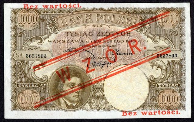 Polish banknotes currency money 1000 zloty zlotych banknote Tadeusz Kosciuszko