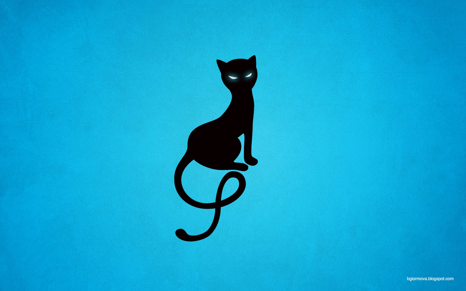 Gracious evil black cat desktop wallpaper in blue