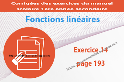 Exercice 14 page 193 - Fonctions linéaires