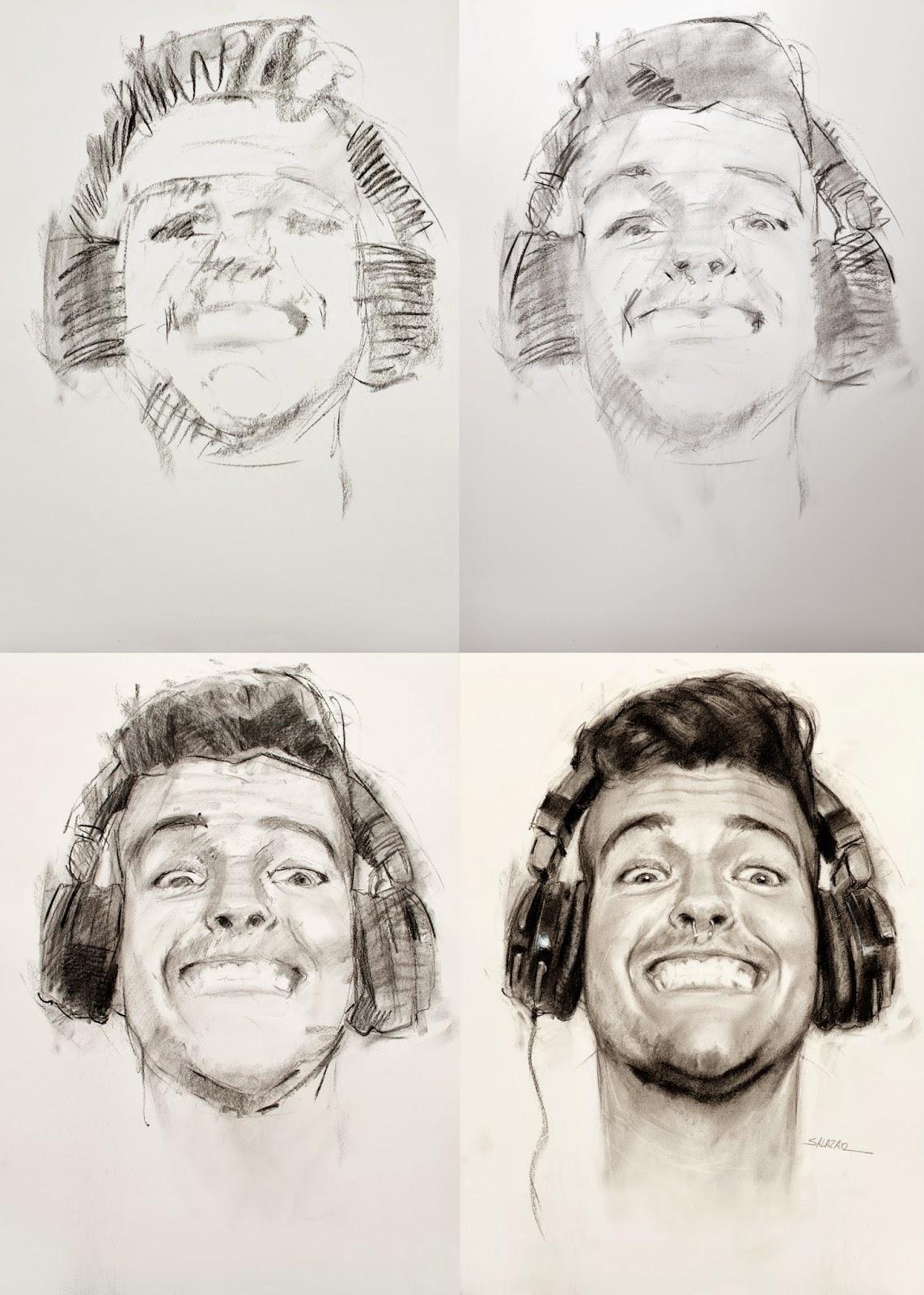 Fases de un retrato a lápiz