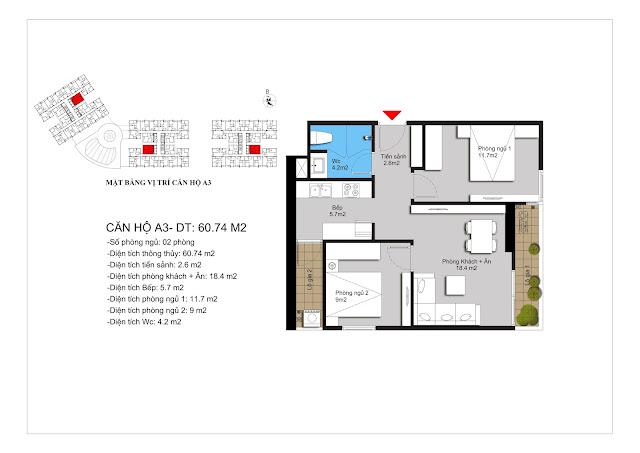Chi tiết căn hộ A3 dự án Hateco Apollo Xuân Phương