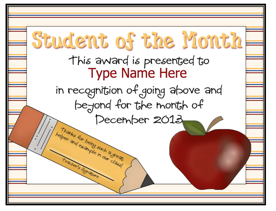 Dayley Supplements: Editable Student of the Month ...
