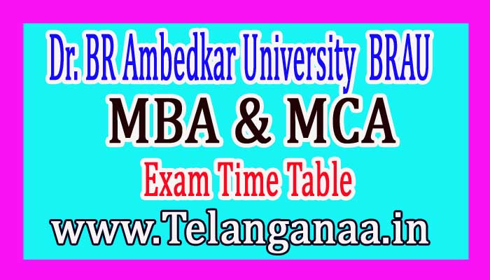 BRAU MBA & MCA 1st sem. Exam Time Table 2018