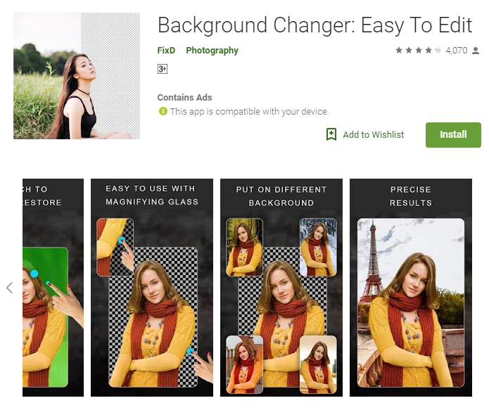 Photo background change apps for android