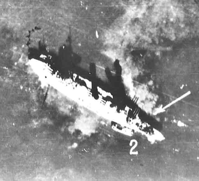 Luftwaffe aerial photograph of the damaged Soviet battleship Oktyabrskaya Revolutsiya in Kronstadt 23 September 1941 worldwartwo.filminspector.com