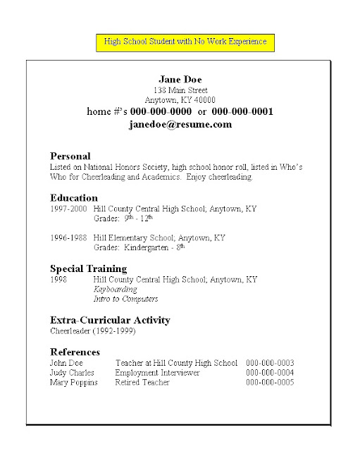Resume Examples Good Resume Templates For Highschool Students