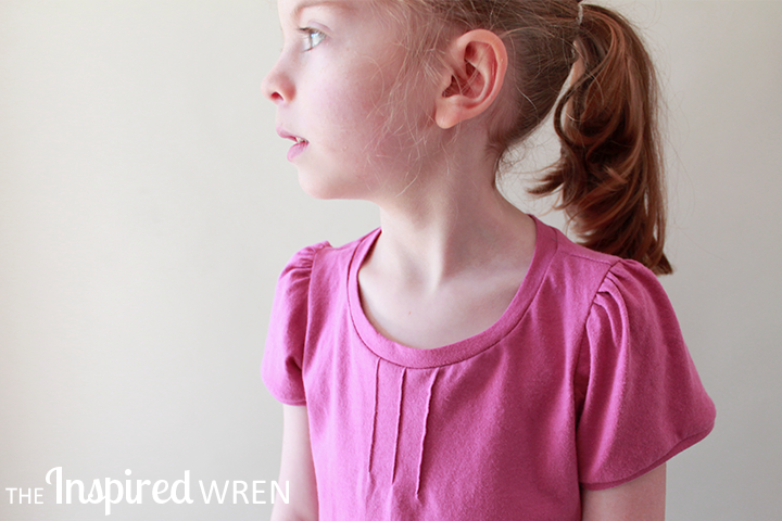 Delicate pin tucks and gathered sleeve caps add feminine charm to a simple knit tee. | The Inspired Wren