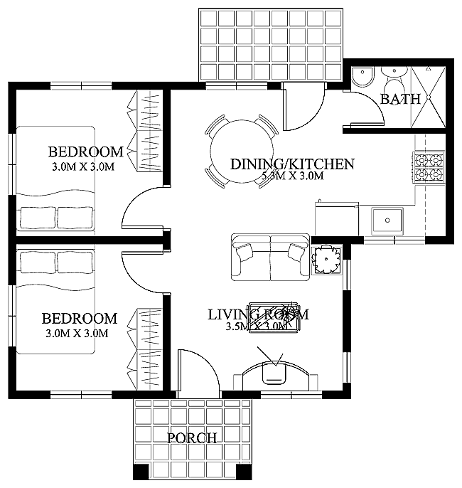 MyHousePlanShop: Small House Plan For Just 52 Square Meters