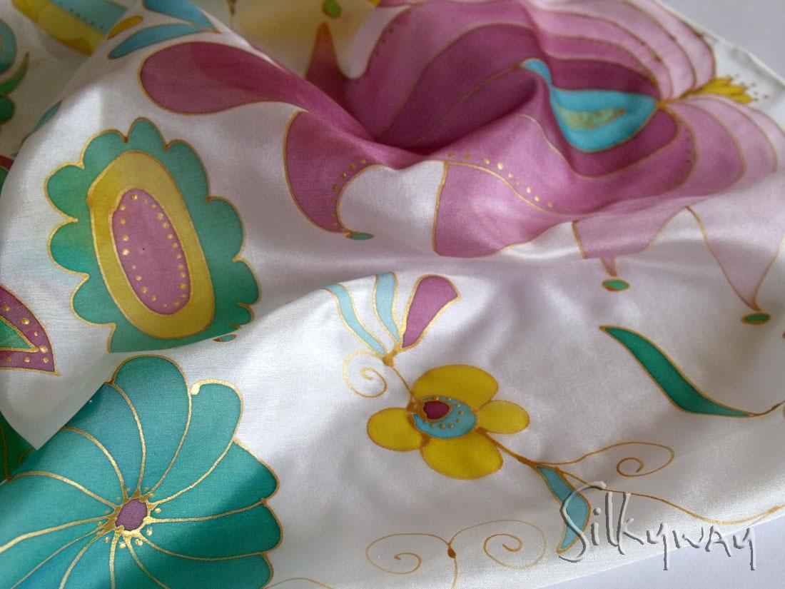 7da0525bc3 Női sálak, kendők - Karácsonyi ajándék nőknek: kézzel festett selyem ...
