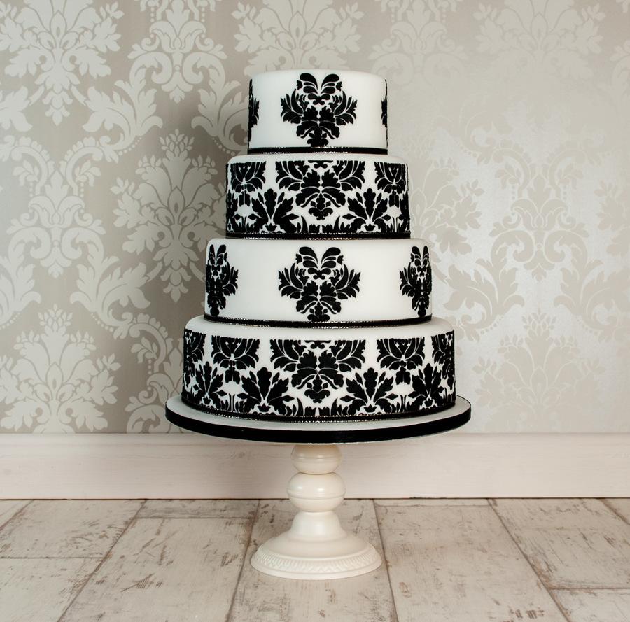 White Demask Wedding Cake