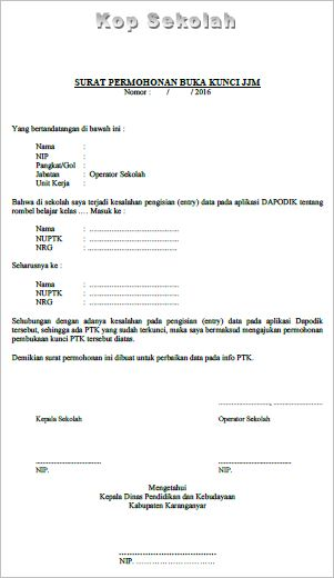 O Contoh Surat Permohonan Buka Kunci Jjmupt Pud Nfi Dan Sd