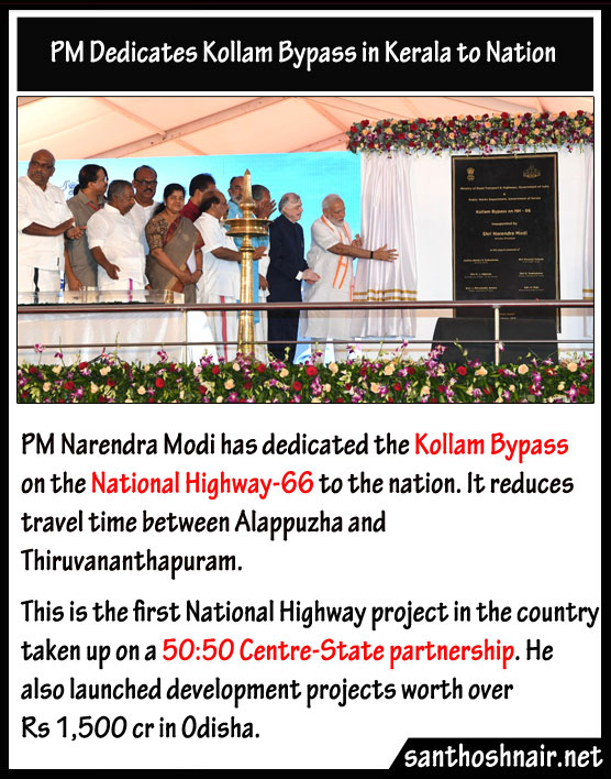 PM dedicates Kollam Bypass in Kerala to Nation
