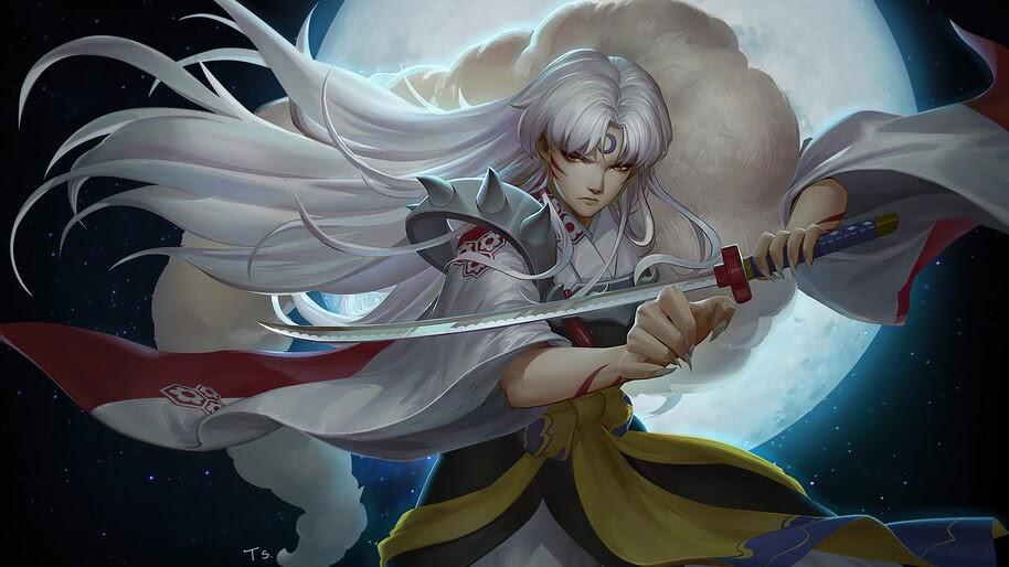 Sesshomaru, Katana, Moon, 4K, #6.2336