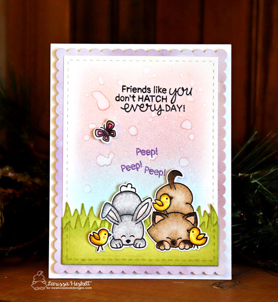 Kitty, Chicks, and Bunny Friendship Card by Larissa Heskett| Newton's Peeps Stamp Set by Newton's Nook Designs #newtonsnook #handmade