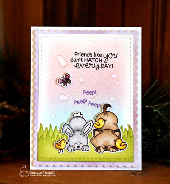 Kitty, Chicks, and Bunny Friendship Card by Larissa Heskett| Newton's Peeps Stamp Set by Newton's Nook Designs #newtonsnook #handmade