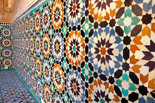 colourful tiles at ben youssef madrasa marrakech morocco