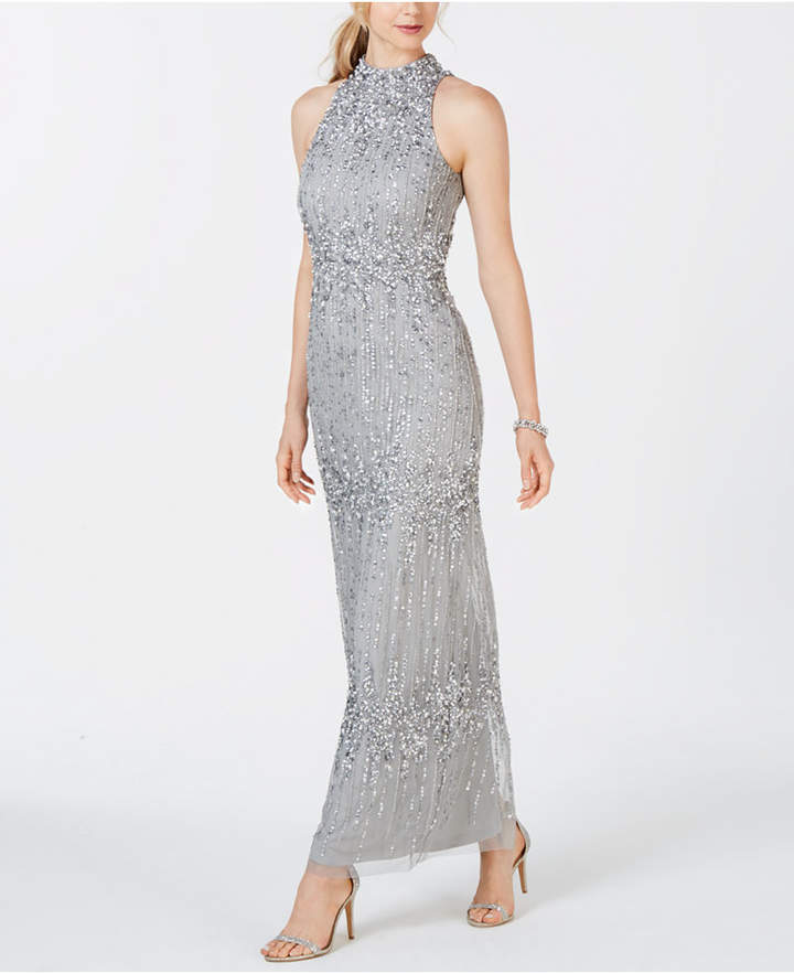 Adrianna Papell Beaded Halter Column Gown