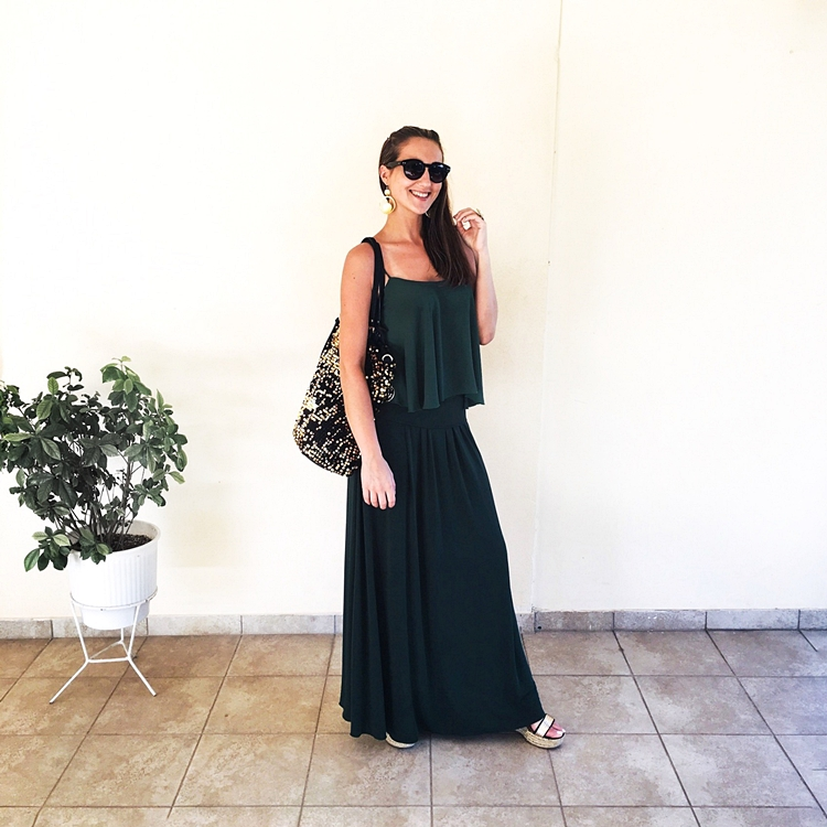 Lynne dark green maxi skirt and loose top
