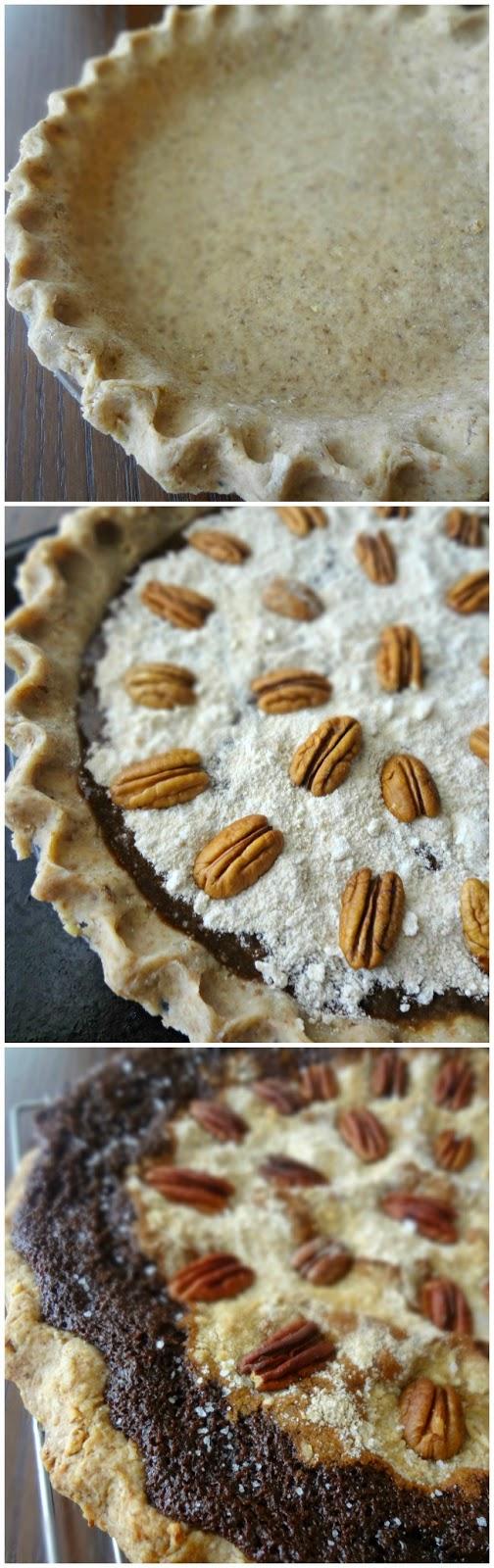Chocolate Shoofly Pie with Pecan Whole Wheat Crust