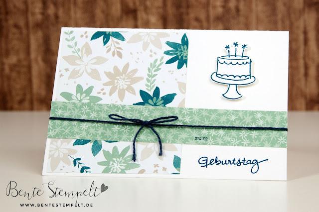 Stampin up Geburtstagspuzzle Punkte Torte Zarte Pflaume Jeansblau Geburtstagskarte Blühende Fantasie Designer papier DSP