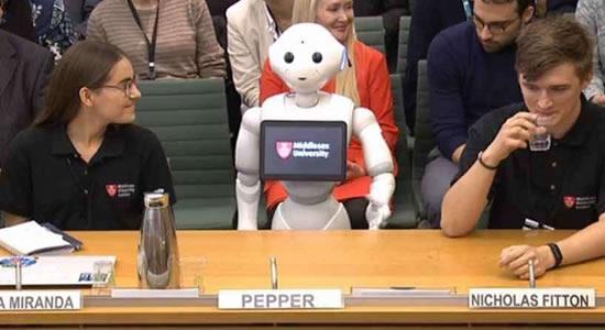Robô fala de inteligência artificial aos deputados britânicos