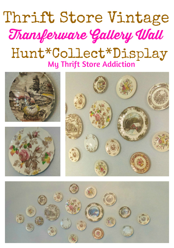 vintage transferware plate gallery wall