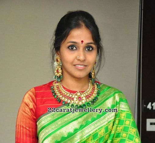 Singer Smitha Kundan Trendy Necklace