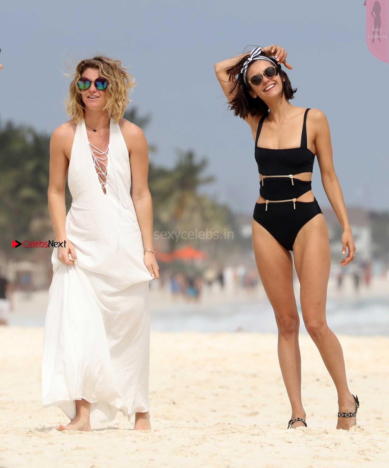 Nina Dobrev in Bikini Playful Pics in bLack Wow at a Beach in Mexico ~ SexyCelebs.in Exclusive