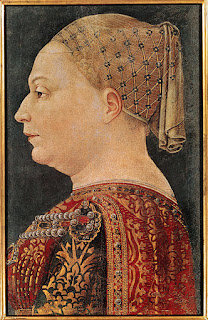 Portrait of Bianca Maria Visconti painted in 1460
