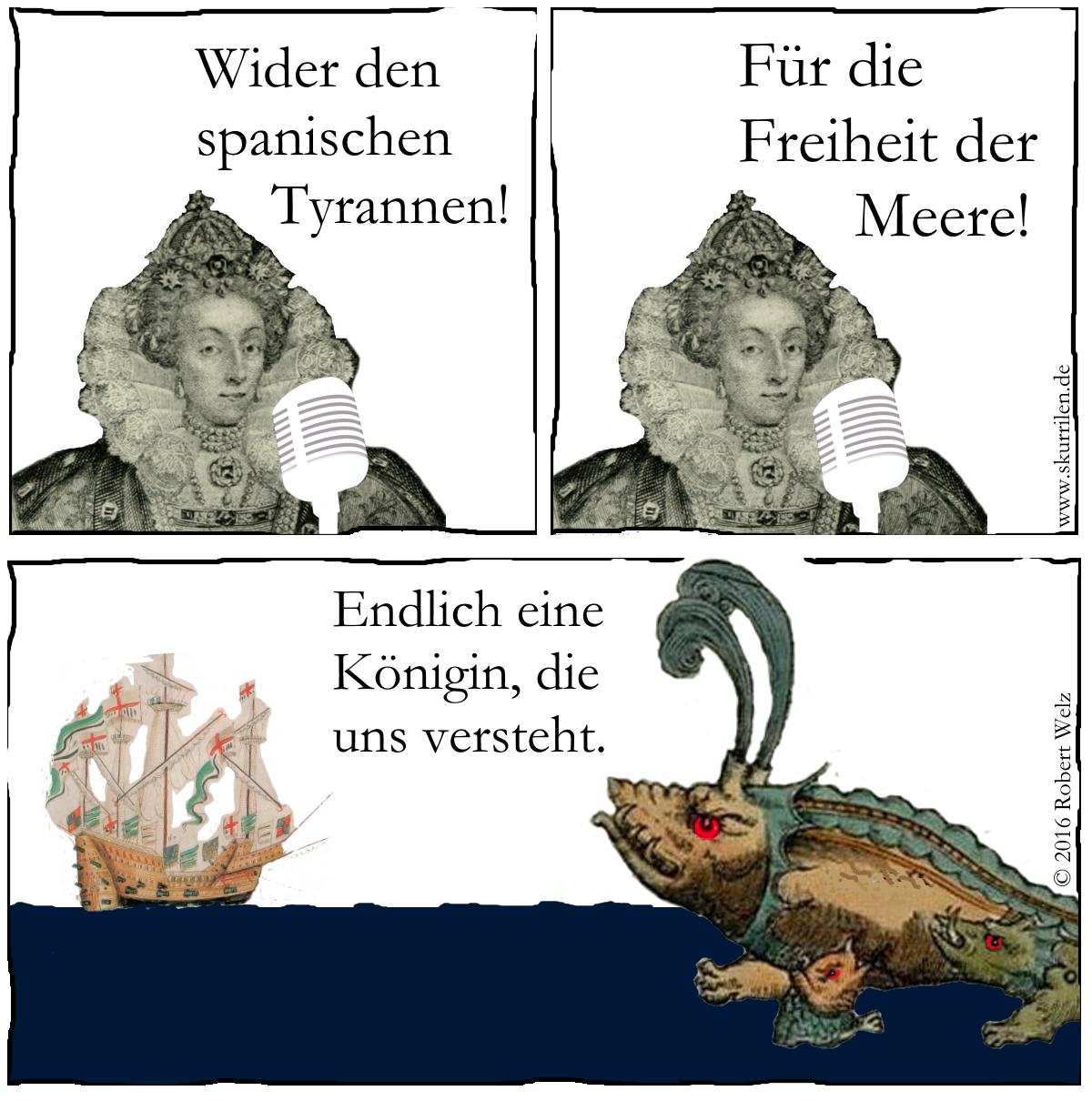 komische Fantasy: Die Ansprache von Königin Elisabeth I. fesselt ihre neuen Alliierten.