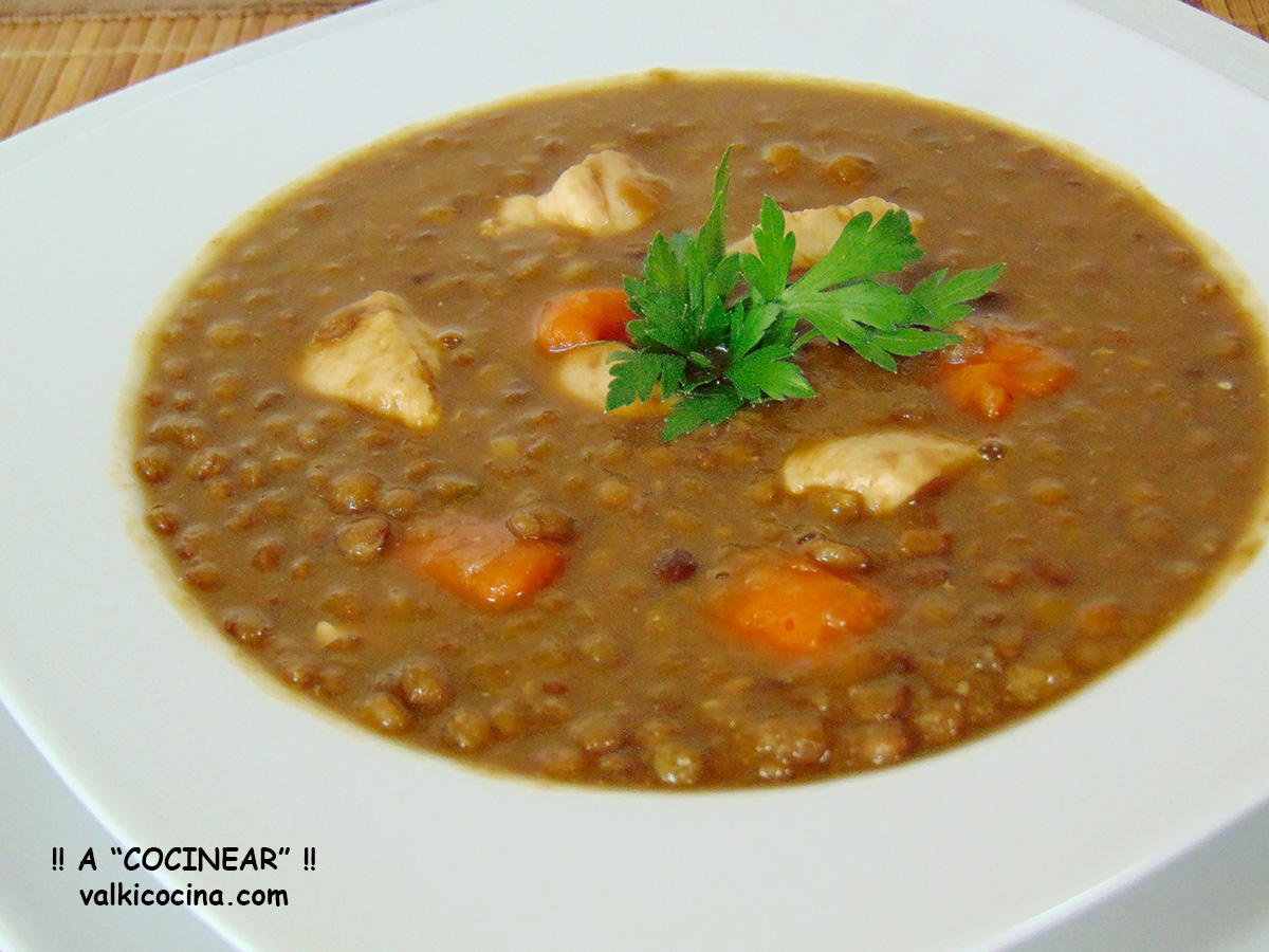 Lentejas estofadas con pollo a cocinear recetas for Cocinar lentejas con verduras