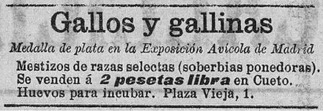 Uno de los anuncios publicados en El Cantábrico ofertando los productos de la granja