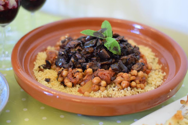 Tasty vegan chickpea Tagine with aubergine and couscous