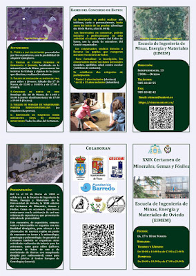 Tríptico del Certamen minerales, gemas, fósiles en la Escuela de Minas de Oviedo