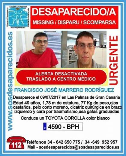 Ha sido localizado Francisco José Marrero Rodríguez, hombre que se encontraba como desaparecido en Las  Palmas de Gran canaria desde el pasado 9 de julio