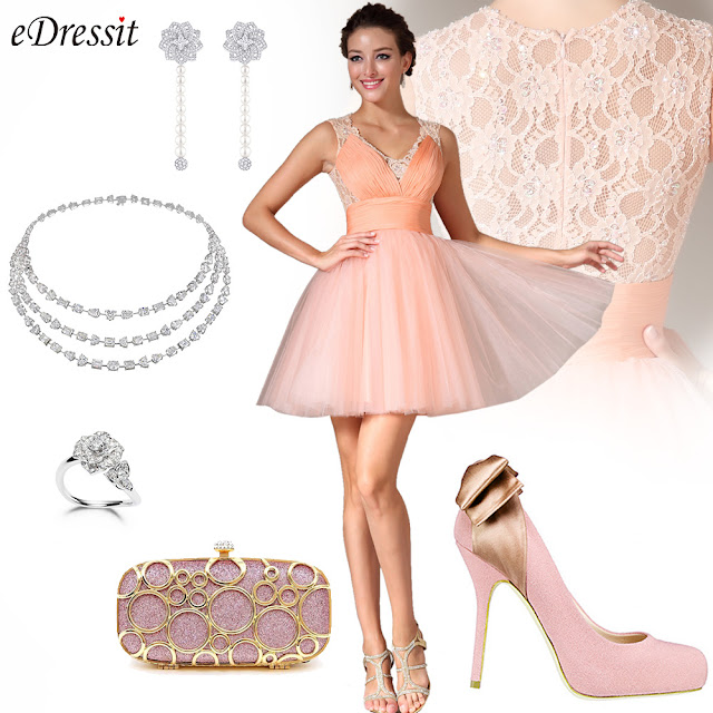 Lace-back Above-knee Length Party/Homecoming Dress