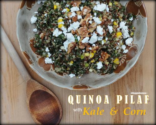 Quinoa Pilaf with Kale & Corn ♥ AVeggieVenture.com