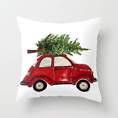 Red car with Christmas tree pillow