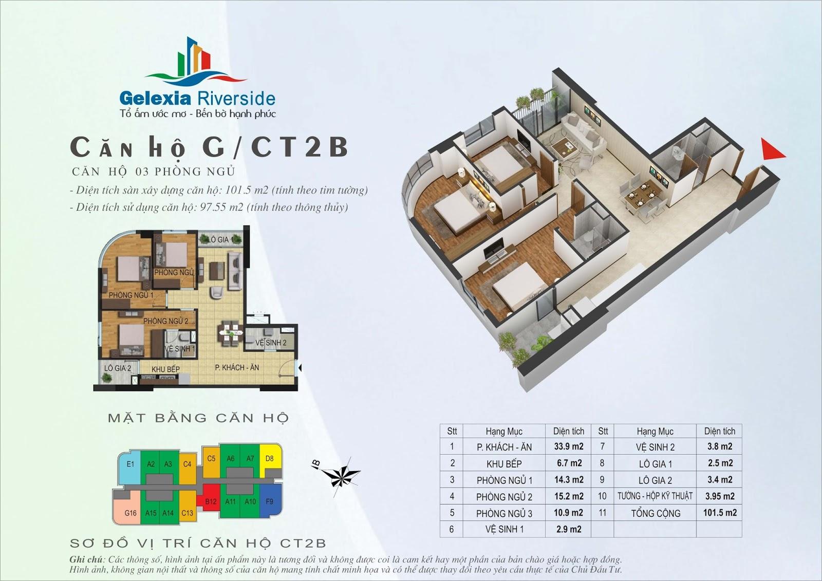 Mặt bằng căn hộ 101,5 m2 tòa CT2B - Gelexia Riverside