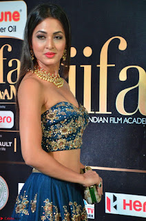 Videesha in Strapless Blue Choli and Ghagra at IIFA Utsavam Awards March 2017