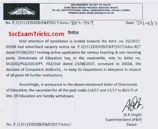 DSSSB TGT PGT PRT Teacher Recruitment Cancelled