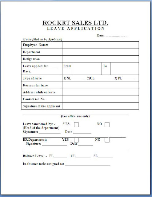 Doc.#8501100: Leave Application Form For Office – Sick Leave