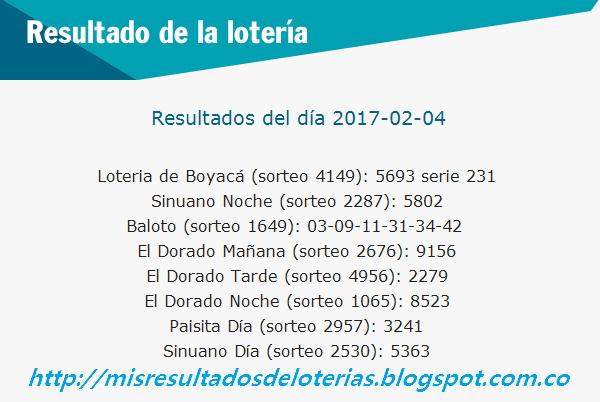 Loterias de Hoy - Resultados diarios de la Lotería y el Chance - Febrero 04 2017